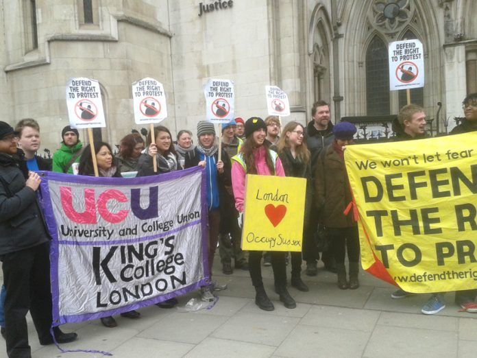 Supporters of the Sussex occupation lobby the Royal Court of Justice