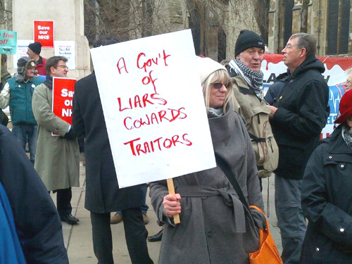 A protester on last Tuesday's lobby of Parliament against NHS privatisation Photo credit BETA LUCIANO