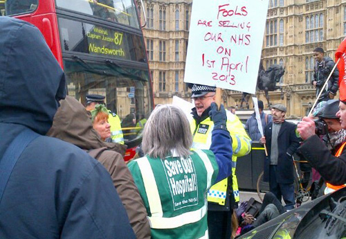 Demonstrators outside parliament last Tuesday demanding no sell-off of the NHS Photo credit: BETA LUCIANO