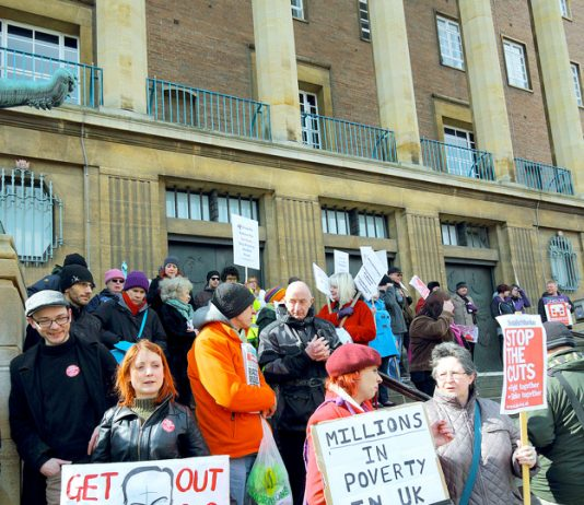 A section of Saturday's Demonstration in Norwich against the 'Bedroom Tax' – see story page 3