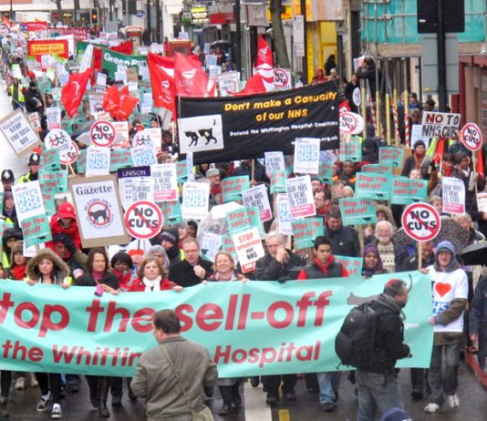 The front of the demonstration on March 16 against the sell-off of the Whittington hospital in north London