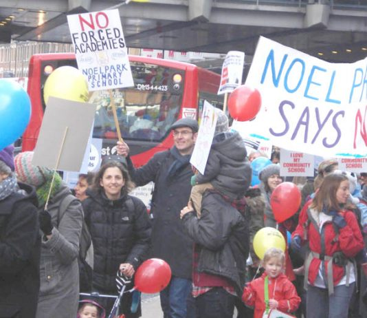 Demonstration in January last year in Haringey against the imposition of Academy schools