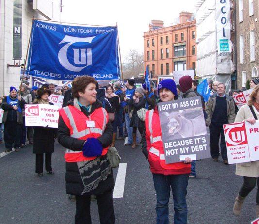 Teachers Union of Ireland delegation on the Dublin demonstration on February 9th