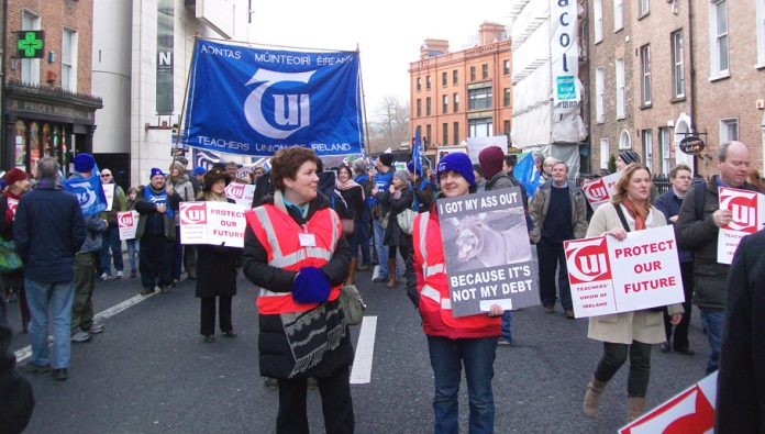 Teachers Union of Ireland delegation on the Dublin demonstration on February 9th