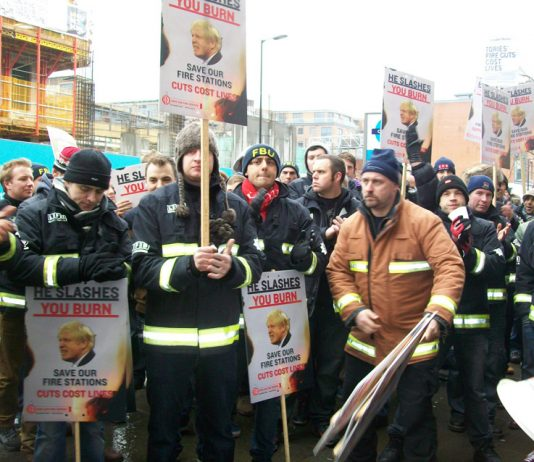 Firefighters lobby the London Fire Authority against cuts and station closures