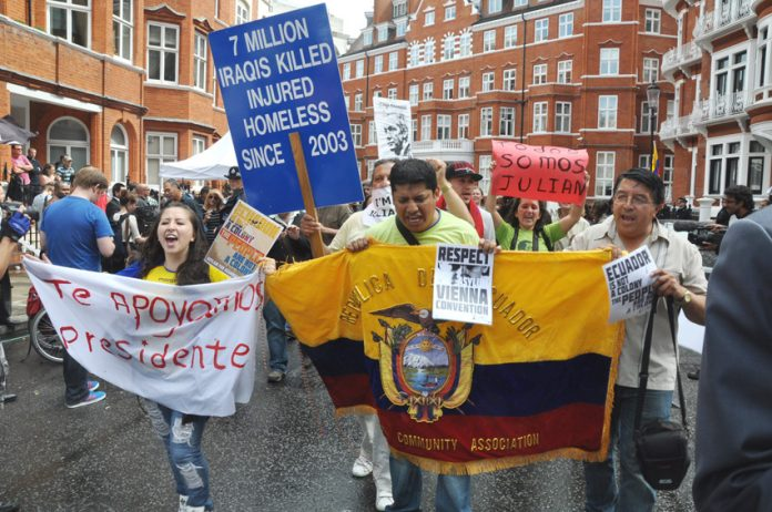 Rally at the Ecuadorian Embassy in London last August when the Julian Assange/WikiLeaks decision was announced