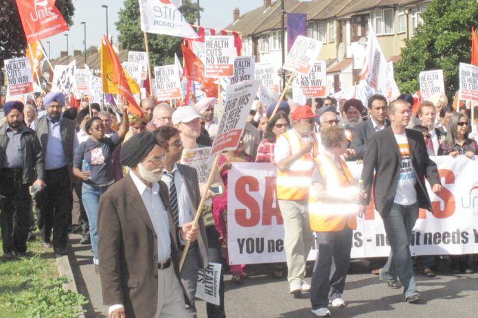 Nationwide, people are taking to the streets to defend their hospitals. Picture shows 10,000-strong march in Ealing last September