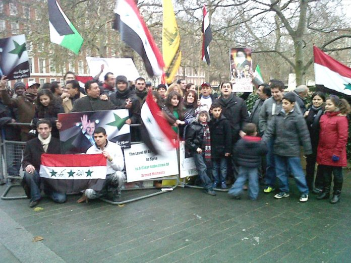 Syrians demonstrate outside the US embassy in London against imperialist support for the terrorists in Syria