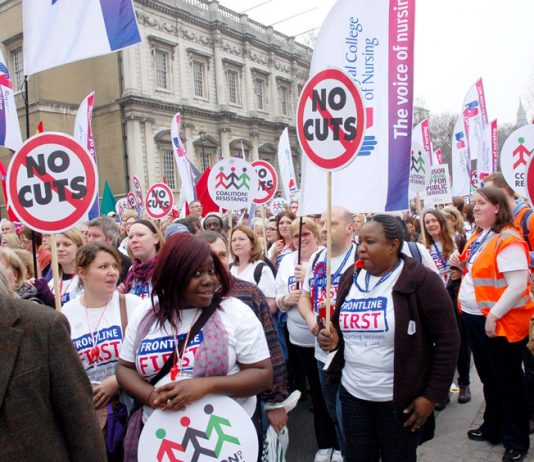 Nurses on the TUC demonstration against the coalition cuts in March 2011
