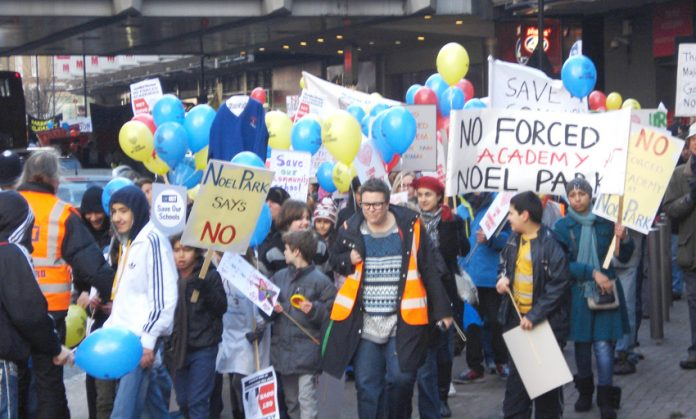 Demonstration in Haringey against forcing Academy status onto community schools in January last year