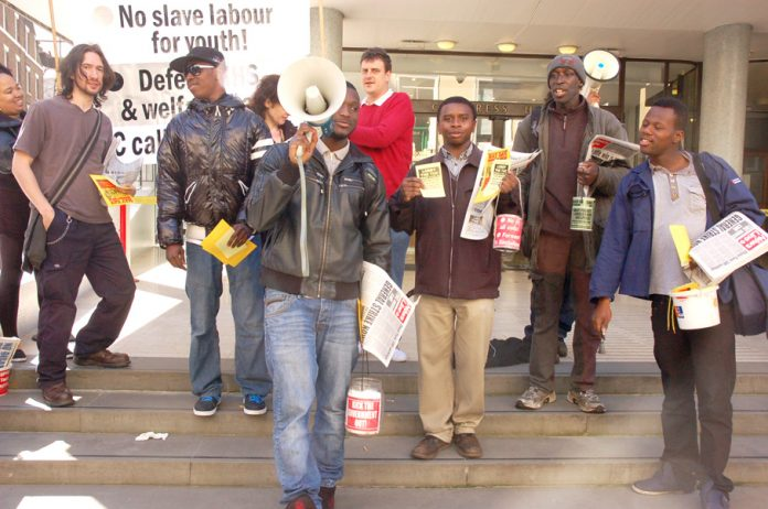 Young Socialists lobbying the TUC General Council yesterday morning demanding they call a general strike