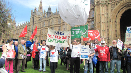 There were a number of lobbies of parliament on Wednesday demanding the end to attacks on the NHS and the Welfare State. Workers are demanding that the trade unions take action to rid the country of the coalition government. Photo credit: Beta Luciano