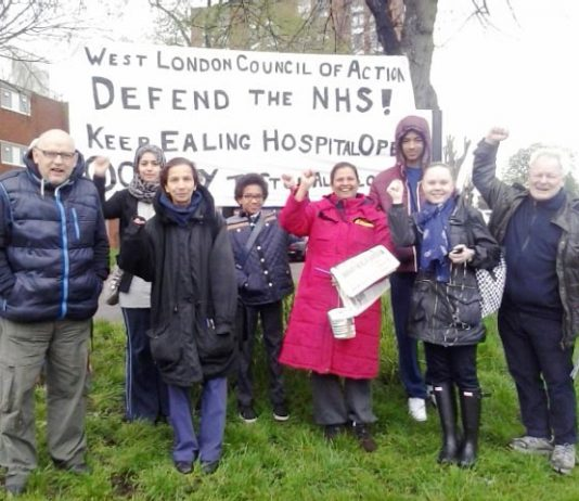 West London Council of Action picketing yesterday morning to keep Ealing Hospital open