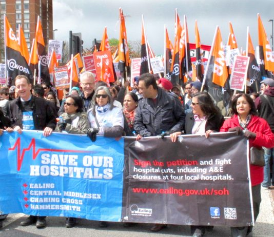 The front of Saturday's demonstration to keep Ealing Hospital open leaves Southall Park to a rally on Ealing Common to join marchers from Acton Park demanding that Charing Cross and hammersmith hospitals be kept open