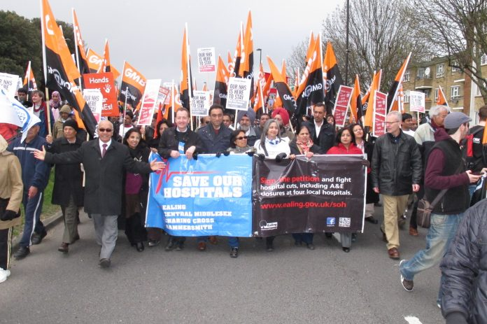 Lead banner on Saturday's 10,000 strong march to defend Ealing, Charing Cross, Hammersmith and Central Middlesex hospitals