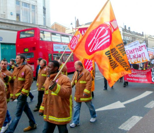 Hundreds march through Brixton on Thursday night to defend their fire station