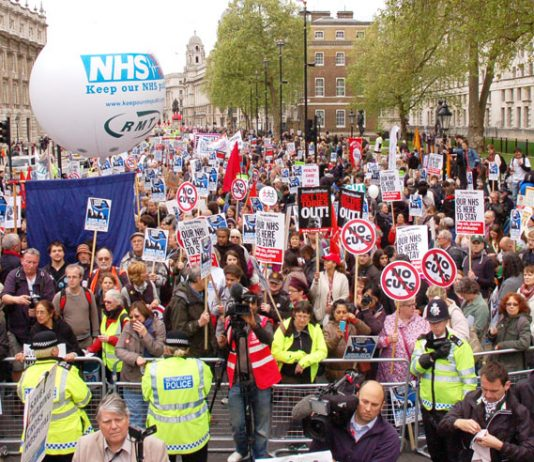 Rally in Whitehall at the end of Saturday's Defend the NHS march