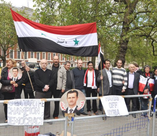 Syrians demonstrate outside the US embassy in London on Saturday in support of president Assad and against the imperialist backing for terrorists in Syria