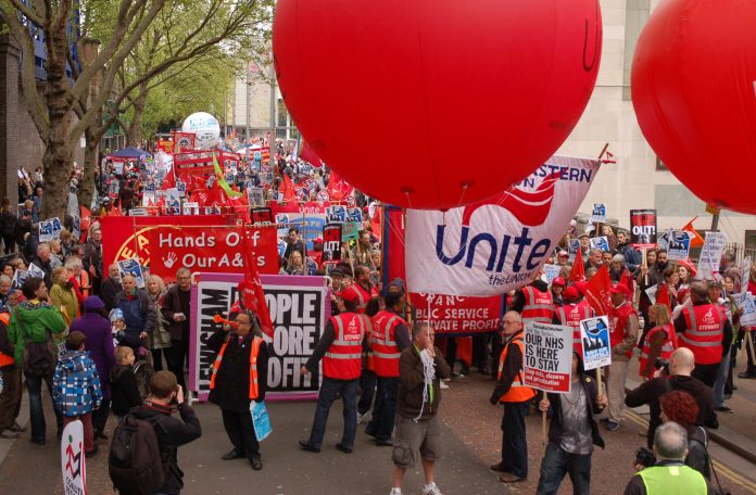 Unite banner at the head of the London NHS march last Saturday