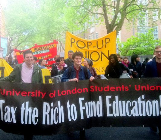 Students from ULU and their supporters marching to show their determination to defend their union