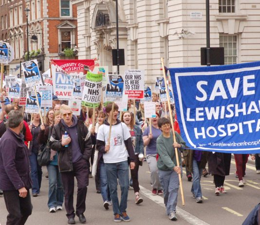 Save Lewisham Hospital campaign banner on last Saturday's demonstration in London against the NHS cuts