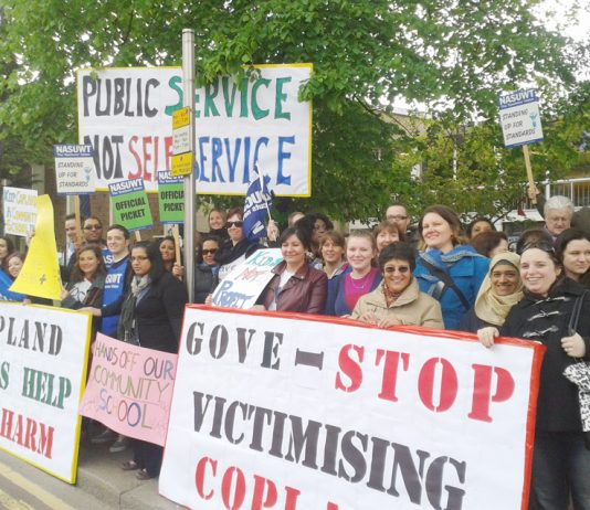 A section of the lively picket of teachers and school support workers outside Copland Community School in Brent