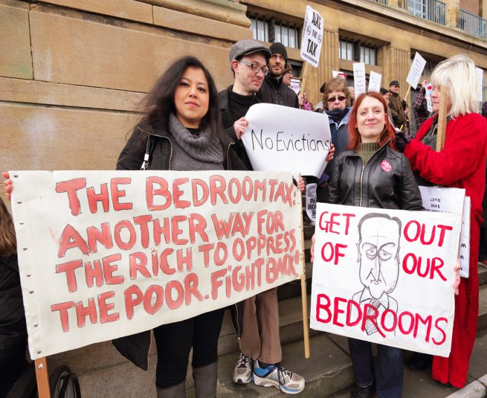 Demonstrators against the bedroom tax in Norwich, England
