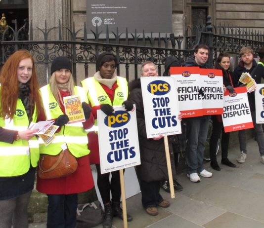 PCS workers picket line outside the National Portrait Gallery earlier this year