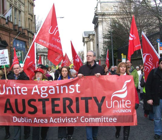 Workers marching in Dublin on February 9th against the coalition's austerity measures