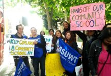 Staff of Copland School in Wembley last month campaigning against it becoming an Academy