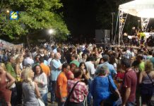 Workers listening to a classical music concert at the ERT grounds last Friday night