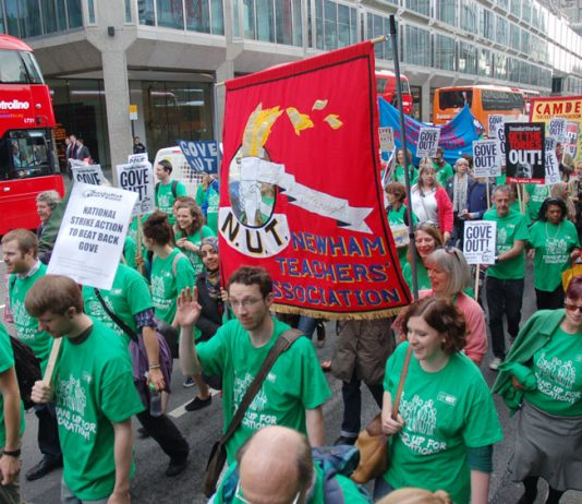 Teachers marching in London on Tuesday against the Coalition's attacks on their jobs, pay and conditions