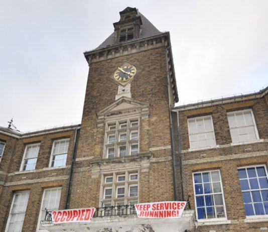 The clock tower at Chase Harm Hospital was occupied after the end of the march to the hospital on February 2nd