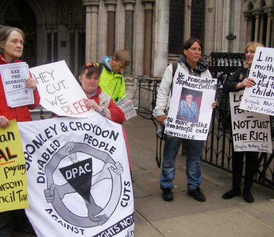 Angry anti-bedroom tax protesters outside Parliament on May 5