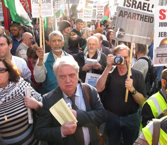 Demonstration in London against Israeli aggression in March last year