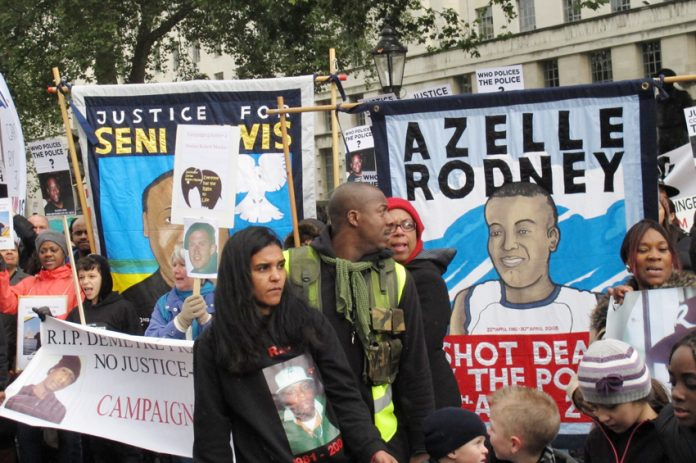 The Azelle Rodney Campaign banner on last October's United Families and Friends Campaign march to Downing Street demanding justice for those that have died at the hands of the state