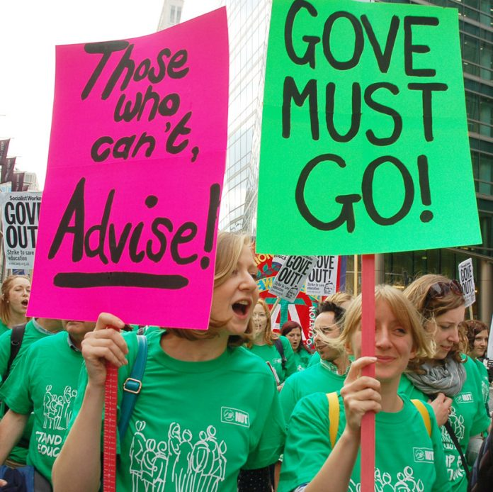 Teachers marching through London at the end of last month demanded 'Gove must go!'