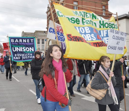 Midwives banner on the North East London Council of Action demonstration in Enfield to keep open Chase Farm Hospital