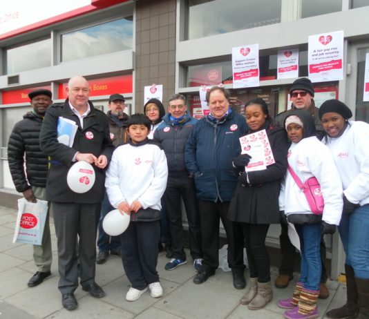 CWU leaders HAYES & WARD on the picket line at Stockwell Post Office