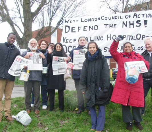 West London Council of Action picket of Ealing hospital determined to prevent the hospital from closing