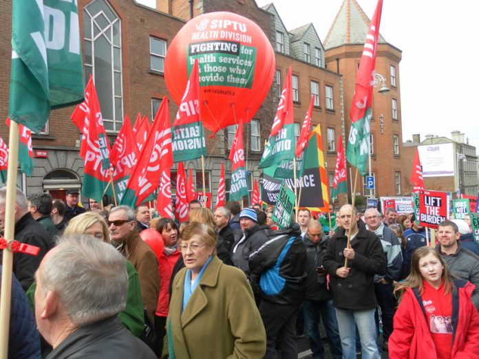 SIPTU members on the 100,000-strong February 9th Dublin demonstration against paying for the bankers' crisis