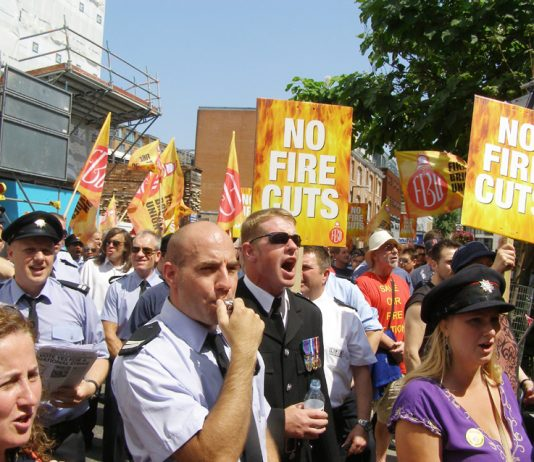 A section of the big firefighters' lobby of the London Fire Authority in Waterloo yesterday