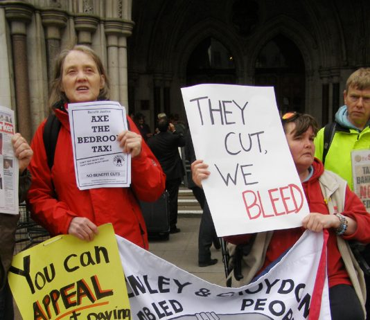 Demonstration outside the High Court in May against the Bedroom Tax