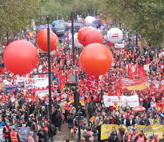 The front of last October's 500,000-strong TUC demonstration – Miliband is determined to drive the organised trade unions out of the Labour Party