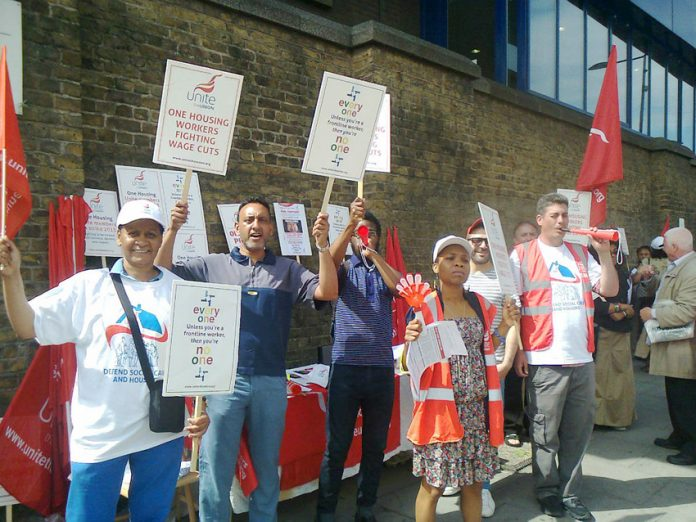 Unite members were on strike yesterday at the One Housing Group head office in Chalk Farm, north London
