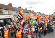 Carillion workers marching in Swindon – the battle for 'justice' becoming harder and harder