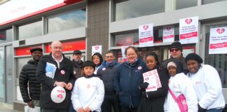 CWU leaders DAVE WARD (second left) and BILLY HAYES (fifth right) on the Crown Post Office picket line in Stockwell