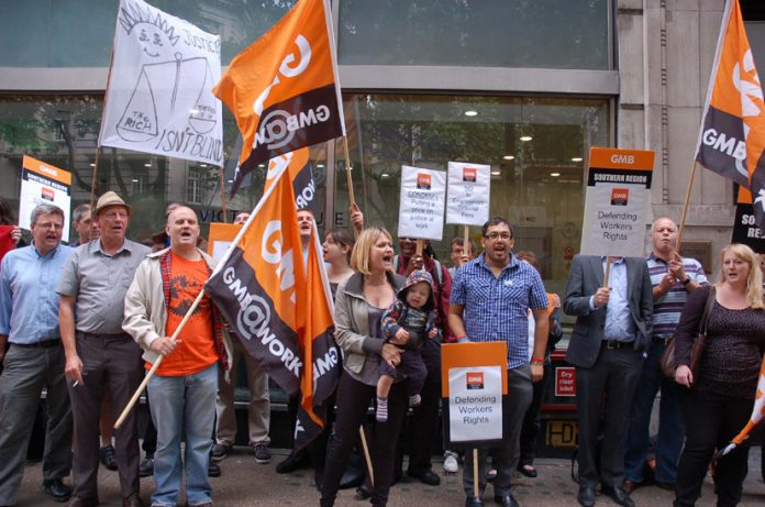 GMB demonstration outside the London Tribunals Office yesterday morning demanding the Tribunal charges be withdrawn