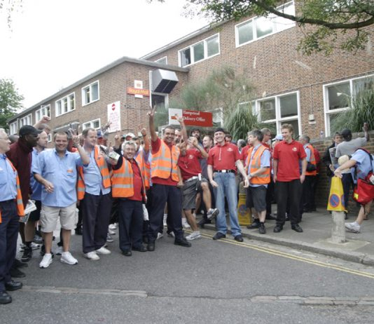 Pickets out in force at Hampstead Delivery office during strike action in August 2009