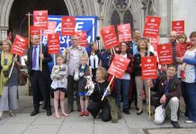 An enthusiastic picket outside the High Court yesterday morning. They are determined to continue the battle to stop the coalition destroying the NHS